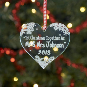 Christmas Decoration - Personalised Heart Snowflake Tree Decoration