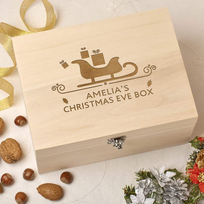 Laser Engraved Personalised Wooden Christmas Eve Box - Sleigh