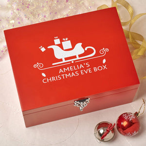 Christmas Eve Box - Laser Engraved Personalised Wooden Christmas Eve Red Box - Sleigh