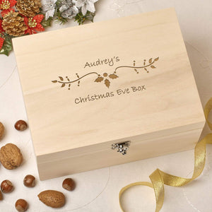 Christmas Eve Box - Wooden Personalised Christmas Eve Box - Holly