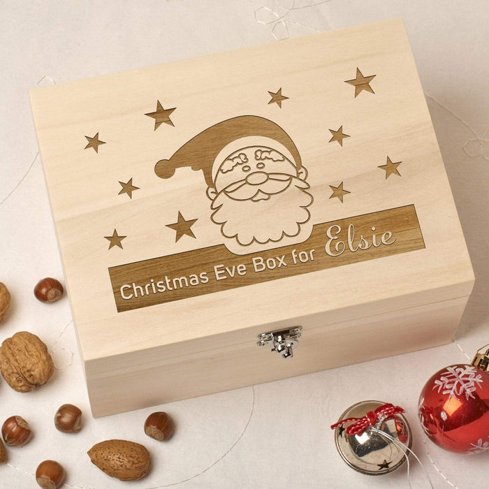 Wooden Personalised Christmas Eve Box - Santa Stars