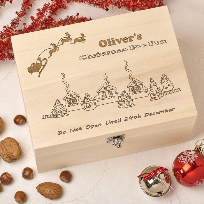 Wooden Personalised Christmas Eve Box - Santa Village
