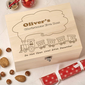 Christmas Eve Box - Wooden Personalised Christmas Eve Box - Train
