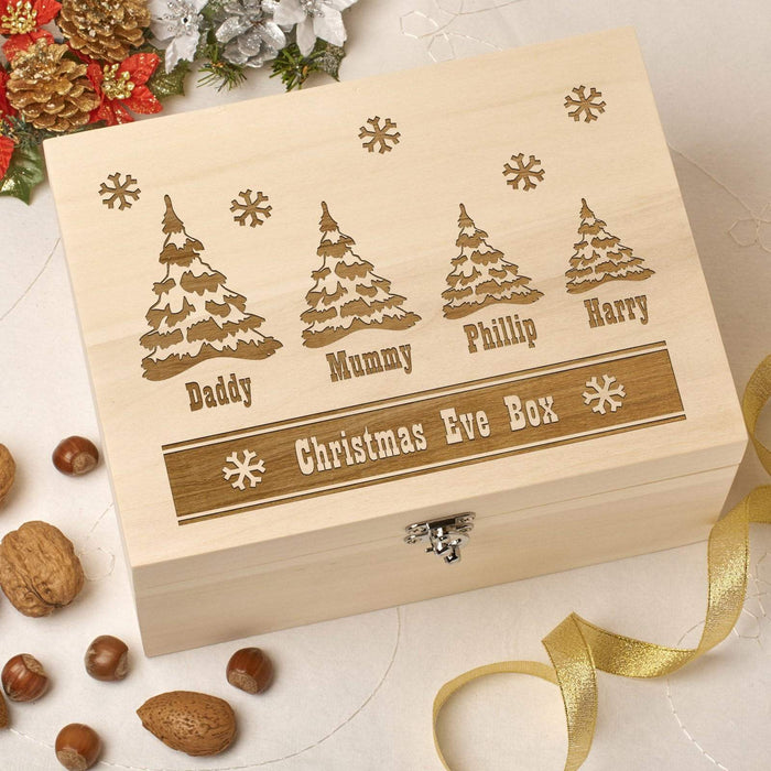 Wooden Personalised Christmas Eve Box - Trees