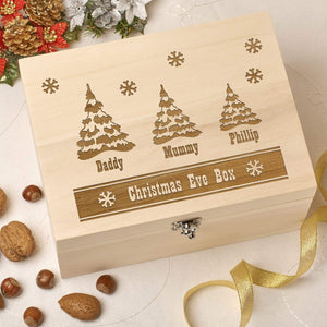 Christmas Eve Box - Wooden Personalised Christmas Eve Box - Trees