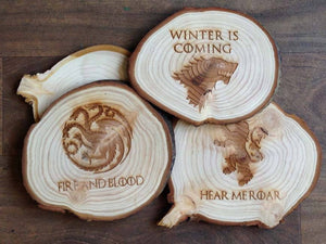 Personalised Hand Cut Natural Wooden Coasters (Set of Four) 050