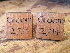 Cufflink - Personalised Wooden Groom Cufflinks With Silver Plated Back 082