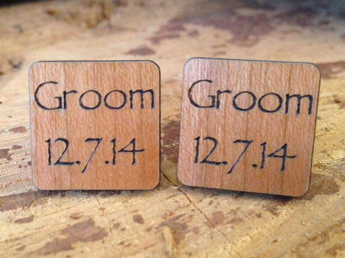 Personalised Wooden Groom Cufflinks with Silver Plated Back 082