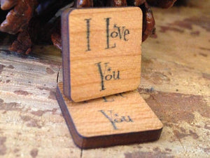 Wooden 'I Love You' Cufflinks with Silver Plated Fastener