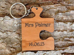 Personalised Jigsaw Shaped Wooden Keyring 056