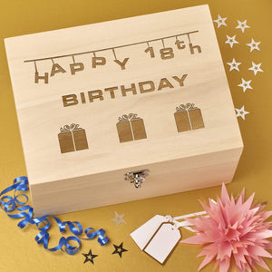Keepsake Box - 18th Birthday Wooden Keepsake Box