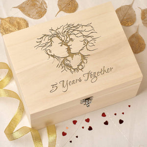 Keepsake Box - 5th Wedding Anniversary Keepsake Box - Kissing Couple