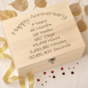 Keepsake Box - 5th Wedding Anniversary Keepsake Box - Time Design