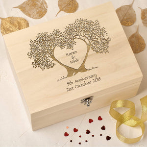 Keepsake Box - 5th Wedding Anniversary Keepsake Box - Tree Heart
