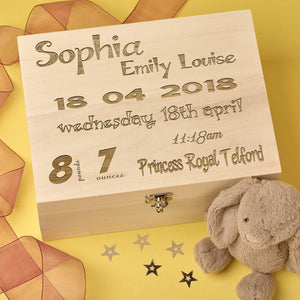 Keepsake Box - Baby Keepsake Memory Box Fully Personalised