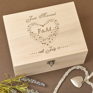 Keepsake Box - Bespoke Personalised Laser Engraved Wooden Wedding Memory Keepsake Box  & Save The Dates