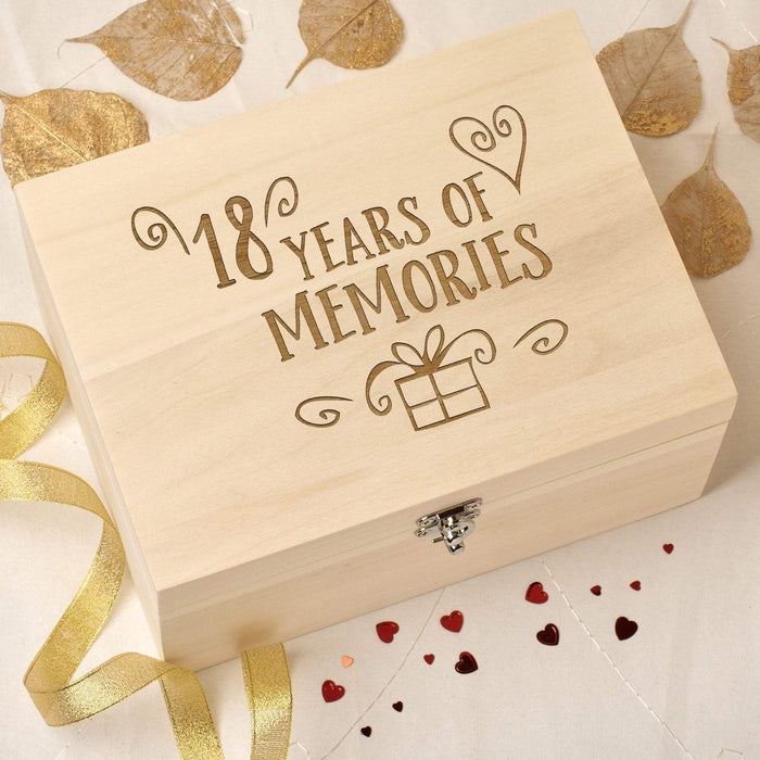 Laser Engraved Wooden Memory Keepsake Box - 18 Memories Design