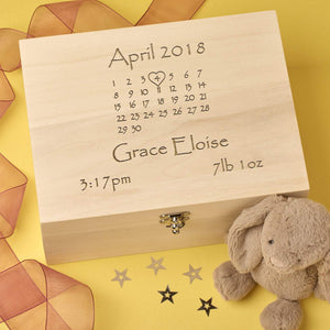 Keepsake Box - Personalised Baby Keepsake Memory Box - Calendar Design