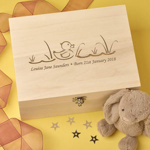 Keepsake Box - Personalised Laser Engraved Wooden Baby Memory Keepsake Box - Baby Duck Design