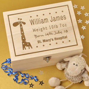 Keepsake Box - Personalised Laser Engraved Wooden Baby Memory Keepsake Box - Baby Giraffe Design