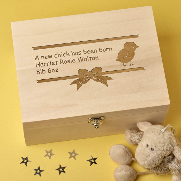 Personalised Laser Engraved Wooden Baby Memory Keepsake Box - New Chick Design