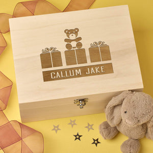 Keepsake Box - Personalised Laser Engraved Wooden Baby Memory Keepsake Box - Teddy Design