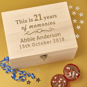 Keepsake Box - Personalised Laser Engraved Wooden Memory Keepsake Box - 21st Birthday Memories Design