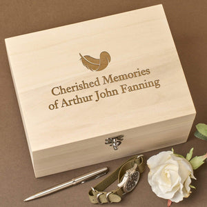 Keepsake Box - Personalised Laser Engraved Wooden Memory Keepsake Box - Feather