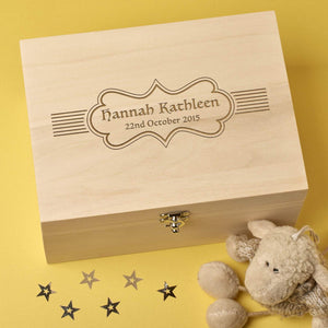 Keepsake Box - Personalised Laser Engraved Wooden Memory Keepsake Box - Name In Lines