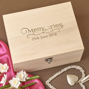 Keepsake Box - Personalised Laser Engraved Wooden Memory Keepsake Box - Wedding Memories Design