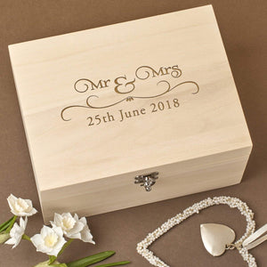 Keepsake Box - Personalised Laser Engraved Wooden Wedding Memory Keepsake Box - Mr & Mrs Design