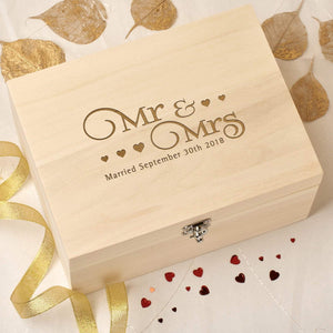Keepsake Box - Personalised Laser Engraved Wooden Wedding Memory Keepsake Box - Mr & Mrs Hearts Design