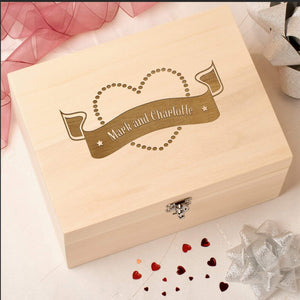Keepsake Box - Personalised Laser Engraved Wooden Wedding Memory Keepsake Box -Scroll Heart Design