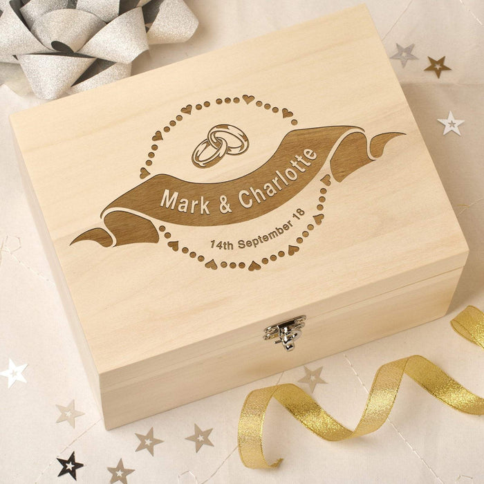 Personalised Laser Engraved Wooden Wedding Memory Keepsake Box - Scroll & Rings Design