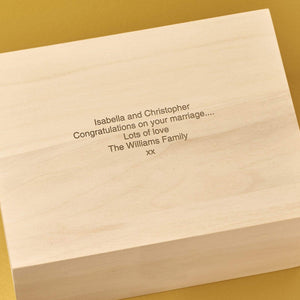 Keepsake Box - Personalised Laser Engraved Wooden Wedding Memory Keepsake Box - Scroll & Rings Design