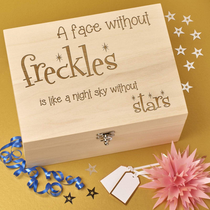 Personalised Wooden Keepsake Memory Box 'Freckles'