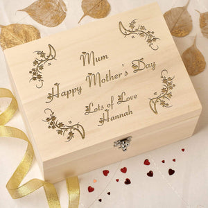 Keepsake Box - Personalised Wooden Keepsake Memory Box - Mother's Day