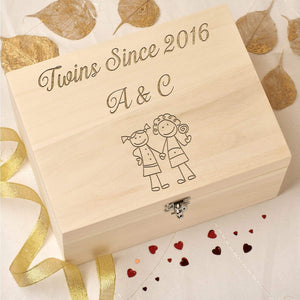 Keepsake Box - Personalised Wooden Keepsake Memory Box - Twins Since