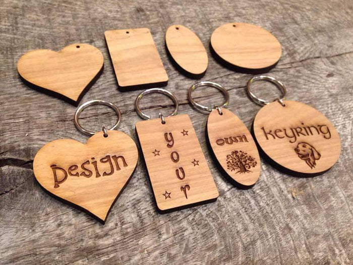 Bespoke Laser Engraved Leaf Keyrings 012