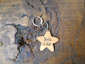 Key Ring - Star Shaped Wooden Keyring- Custom Order 121