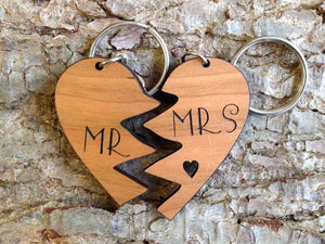 Personalised Heart Shaped Lovers Wooden Keyring 052