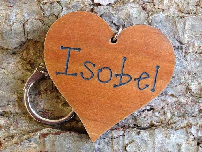 Personalised Heart Shaped Wooden Keyring 053
