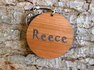 Key Ring - Personalised Circle Shaped Wooden Keyring 037