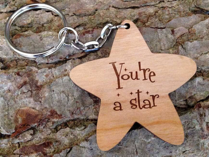 Personalised Star Shaped Wooden Keyring 073