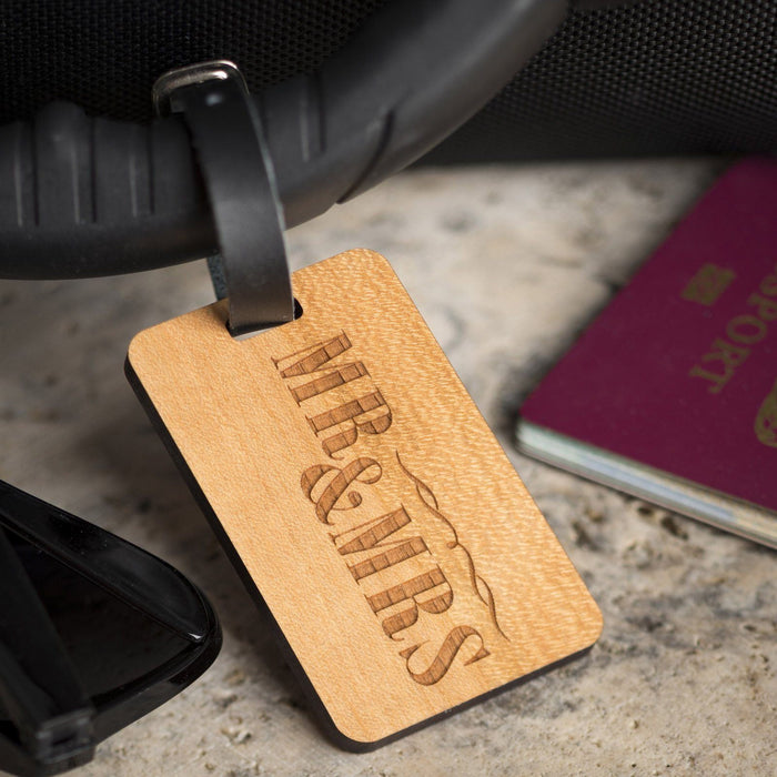 Personalised Wooden Luggage Tag- Mr & Mrs