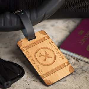 Luggage Tags - Personalised Wooden Luggage - Travel Trunk
