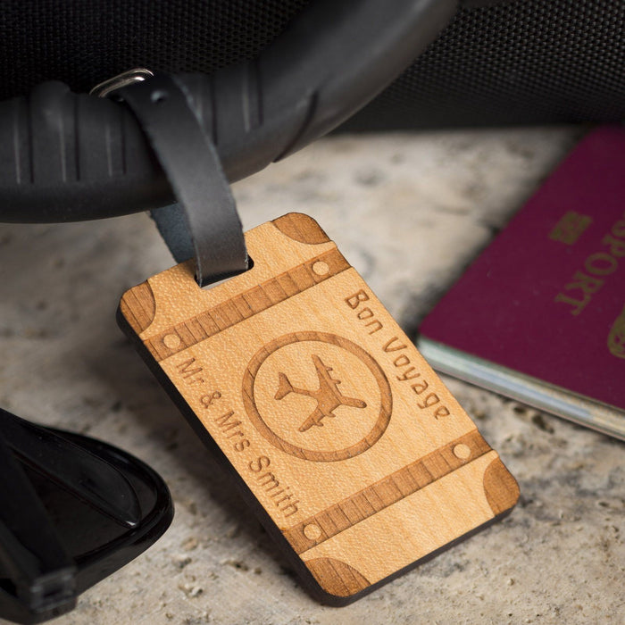 Bespoke Personalised Wooden Luggage Tag