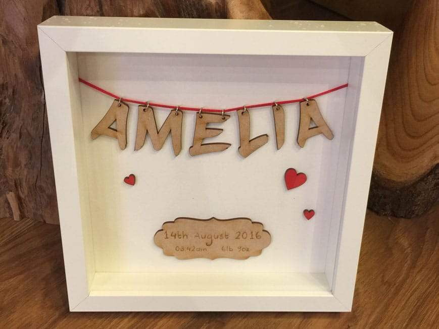 Name Frame - Personalised Wooden Name New Baby Or Wedding Frame