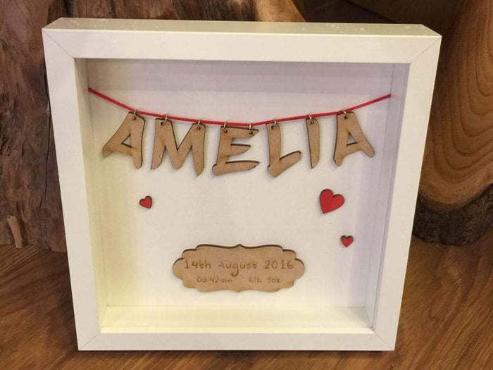 Personalised Wooden Name New Baby or Wedding Frame