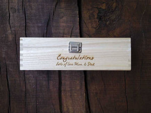 Wine Box - Personalised Wooden Wine Box With Silver Clasp And Material Inlay 113